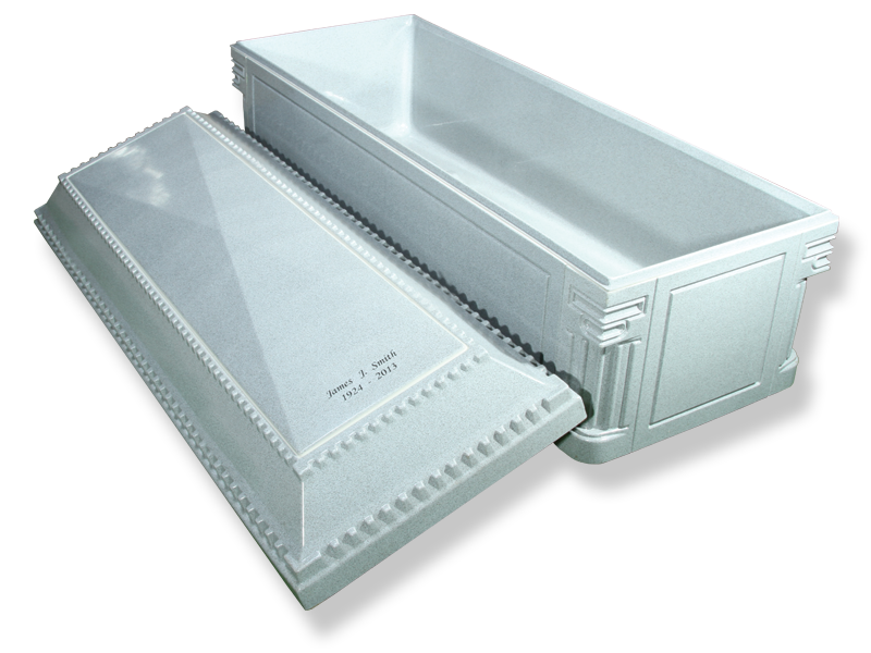 Polystyrene shell combined with a special laminated cover sheet.